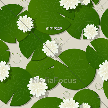 Water Lilies Design, Seamless Pattern Background Stock Photo