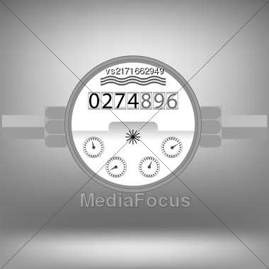 Water Meter Icon Isolated On Grey Background. Devise For Measuring Water Cosumption Stock Photo