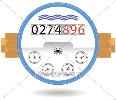 Water Meter Icon Isolated On White Background. Devise For Measuring Water Cosumption Stock Photo