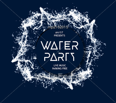 Water Party Splash Vector Background On Blue Stock Photo
