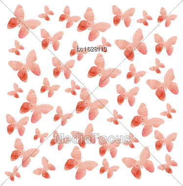 Watercolor Butterflies Background. Vector Illustration Stock Photo