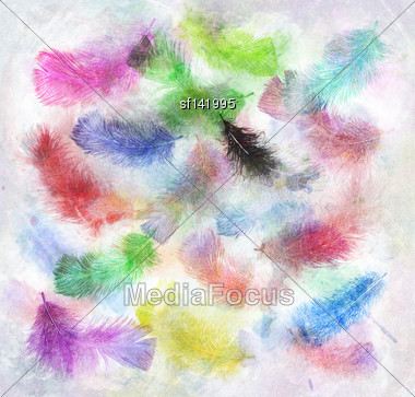 Watercolor Digital Painting Of Colorful Feathers Stock Photo