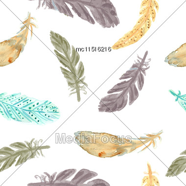 Watercolor Feathers Seamless Pattern. Watercolor Painted Ethnic Texture. Native Seamless Pattern Stock Photo