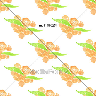 Watercolor Painted Peach Floral Seamless Pattern. Green Branches And Leaves. Vector Illustration Stock Photo