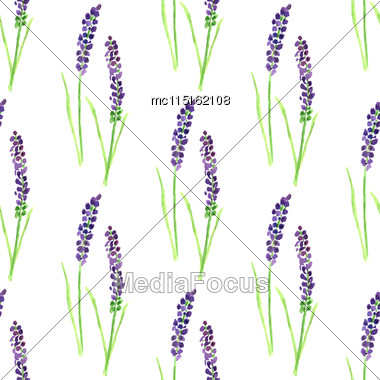 Watercolor Painted Seamless Lavender Pattern Stock Photo