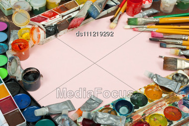 Watercolor Paints Set With Brushes And Paper Sheet Stock Photo