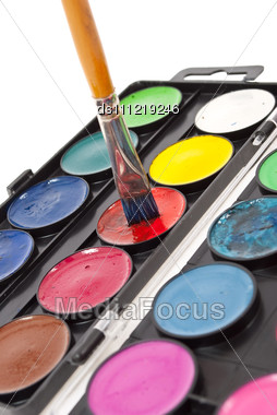 Watercolor Paints Set With Brush Stock Photo