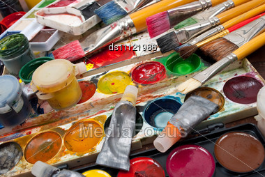 Watercolor Paints Set With Brushes Stock Photo