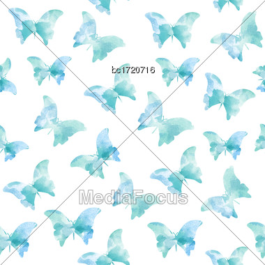 Watercolor Seamless Pattern With Blue Butterflies, Vector Format Stock Photo