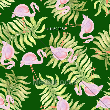 Watercolor Seamless Pattern With Flamingo Bird. Vector Illustration Stock Photo