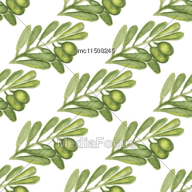 Watercolor Seamless Pattern With Palm Tree Leaf. Vector Illustration For Design Of Gift Packs, Wrap, Patterns Fabric, Wallpaper, Web Sites And Other Stock Photo