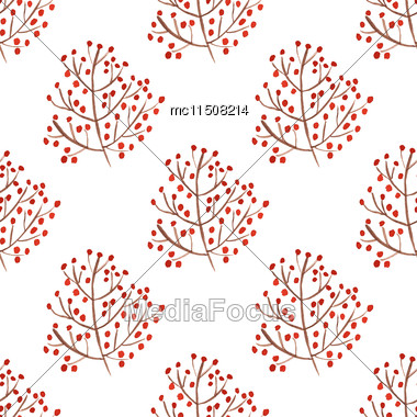 Watercolor Seamless Pattern With Red Berry Branches. Vector Illustration For Design Of Gift Packs, Wrap, Patterns Fabric, Wallpaper, Web Sites And Other Stock Photo
