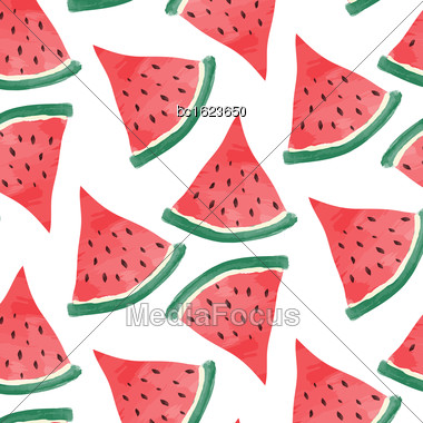 Watercolor Watermelon Background, Vector Format Stock Photo