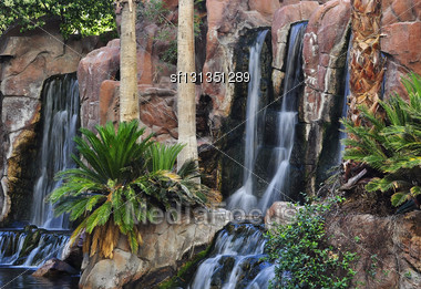 Waterfalls In A Park Stock Photo