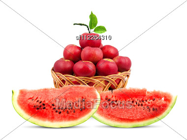 Watermelon And Apples Isolated Stock Photo