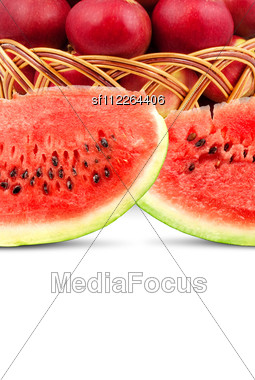 Watermelon And Apples Stock Photo