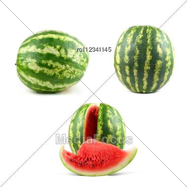 Watermelon Set Isolated Stock Photo