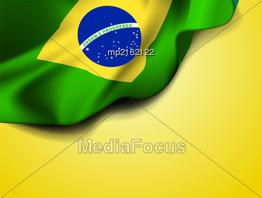 Waving Flag Of Brazil, South America. Vector Illustration Stock Photo
