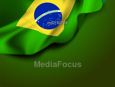 Waving Flag Of Brazil, South America. Vector Illustration Stock Photo