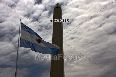 Waving Flag And Tower A La Republica In The Center Of Buenos Aires Argentina Stock Photo