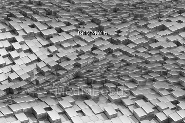 Wavy Shiny Metal Cubic Background Stock Photo