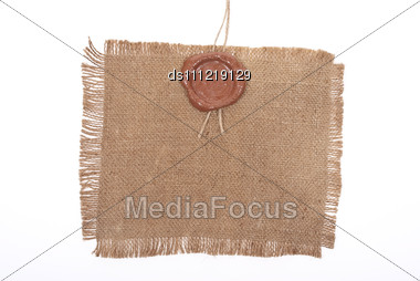 Wax Seal On Sackcloth Material Stock Photo