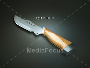 Weapon: Hunting Knife With Large Blade Over Grey Stock Photo