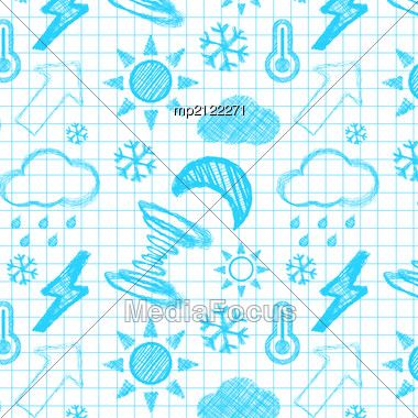 Weather Hand Drawn Seamless Pattern. Vectror Illustration Stock Photo