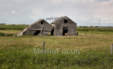 Weathered Wooden Buildings On The Prairie Saskatchewan Stock Photo