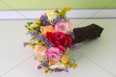 Wedding Bunch Of Flowers At White Table Stock Photo