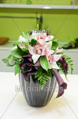 Wedding Bunch Of Flowers Closeup At Table Stock Photo