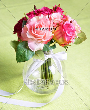 Wedding Bunch Of Flowers On A Green Table Stock Photo