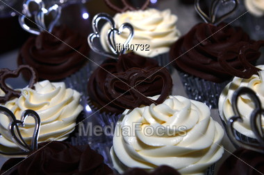 Wedding Cake Of Cupcakes Chocolateand Vanilla Stock Photo