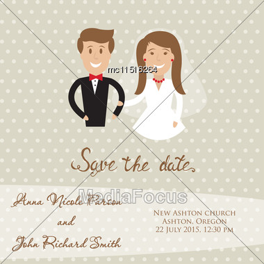 Wedding Card With Newly Wed Couple. Save The Date Card With Bride And Groom Stock Photo