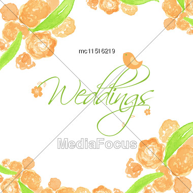 Wedding Card With Peach Peonies And Cute Bird. Watercolor Painted Vector Card Stock Photo