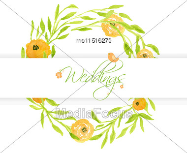 Wedding Card With Peach Peonies Wreath And Cute Bird. Watercolor Painted Vector Card Stock Photo