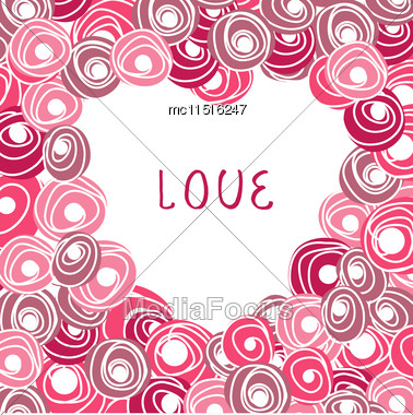Wedding Card With Vector Heart From Roses. Cartoon Floral Rose Heart Stock Photo