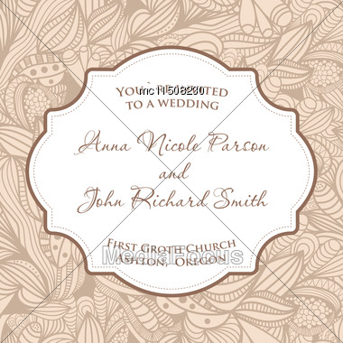 Wedding Invitation Card With Beige Seamless Pattern Stock Photo