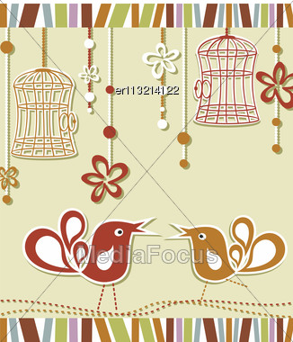 Wedding Invitation Card With A Bird Cage And Flowers Stock Photo