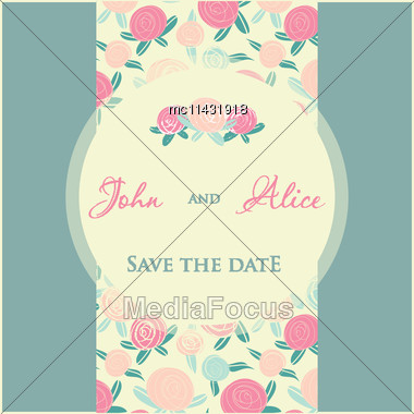 Wedding Invitation Card Design With Multicolored Drops And Floral Elements Stock Photo