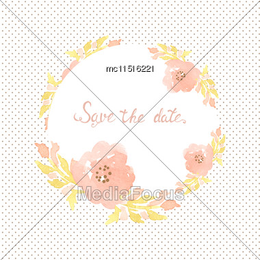Wedding Invitation Card With Flowers On Polka Dot Background. Watercolor Painted Design With Pink Rose Flowers And Leaves Stock Photo