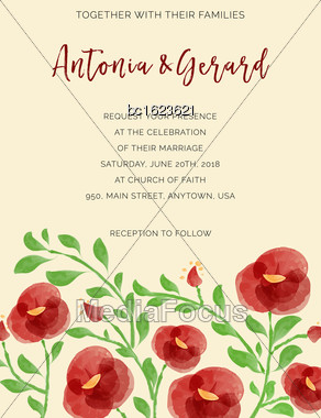 Wedding Invitation Cards With Watercolor Elements, Vector Format Stock Photo