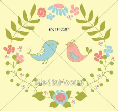 Wedding Invitation Or Greeting Card Design With Cute Floral Wreath And Birds Couple Stock Photo