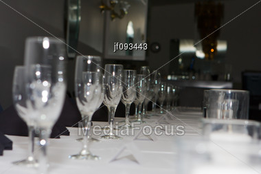 Wedding Reception Dinner Banquet Party Table Settings Stock Photo