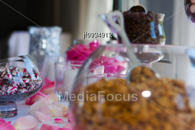 Wedding Table Of Confections, Goodies And Chocolates Stock Photo