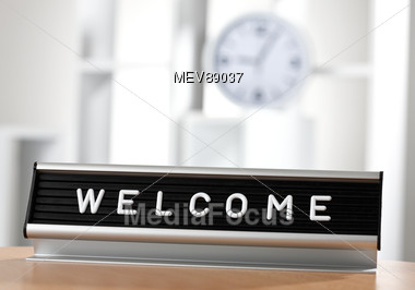 stock photo welcome sign in office image mev89037 welcome sign . 590ca9a8f6e9