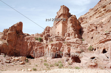 Well-know Petra Of Mountain In Jordan Stock Photo
