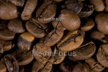 Well Roasted Coffee Beans Close Up Background Stock Photo