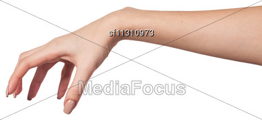 Well Shaped Female Hand Reaching For Something Isolated On A White Background Stock Photo