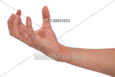Well Shaped Male Hand Reaching For Something Stock Photo